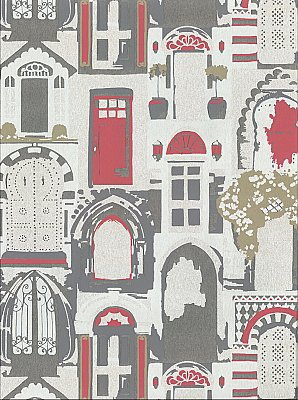 Knock, Knock Wallpaper - Silver/Black/Red