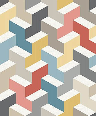 The Right Angle Wallpaper - Orange/Teal/Gold