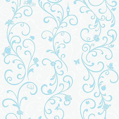 Disney Princess Scroll Stripe Wallpaper