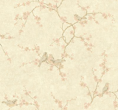 Birds W/Blossoms Wallpaper
