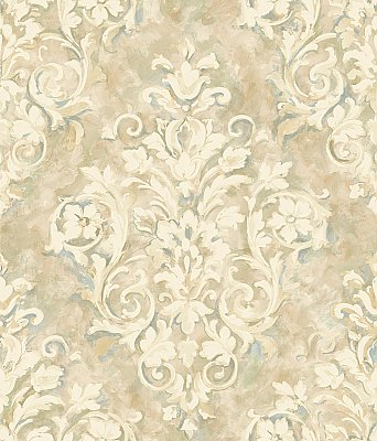 Painterly Damask Wallpaper