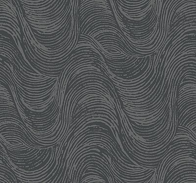 Great Wave Wallpaper - Silver/Black