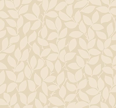 Leaf and Vine Wallpaper - Beige W/Iridescent