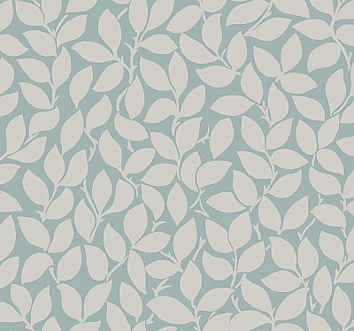 Leaf and Vine Wallpaper - Silver/Blue