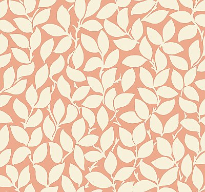 Leaf and Vine Wallpaper - Tangerine