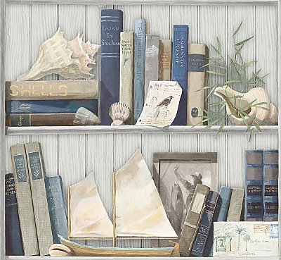 Coastal Library Wallpaper