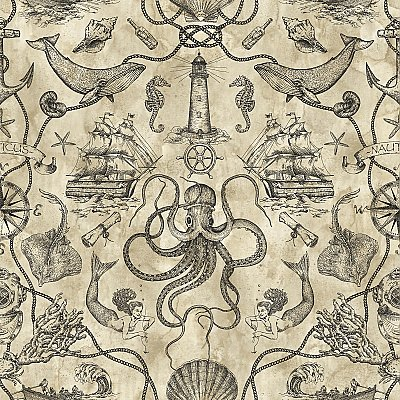 Deep Sea Toile Wallpaper