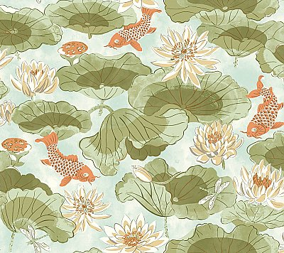 Lotus Lake Removable Wallpaper
