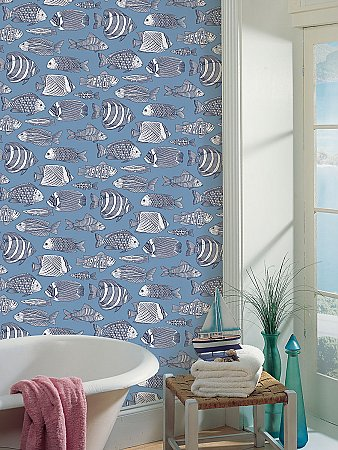 Wailea Sky Blue Tropical School Wallpaper