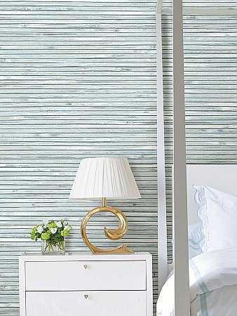 Bellport Sky Blue Wooden Slat Wallpaper