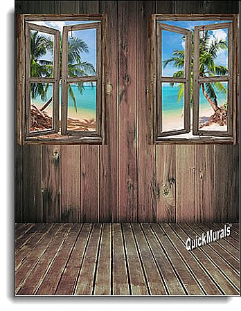 Beach Cabin Window Mural #3 One-piece Peel and Stick Canvas Wall Mural