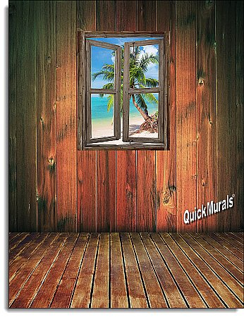 Beach Cabin Window Mural #4 One-piece Peel and Stick Canvas Wall Mural