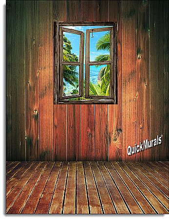 Beach Cabin Window Mural #8 One-piece Peel and Stick Canvas Wall Mural
