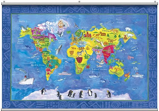 World Map Minute Mural 121235