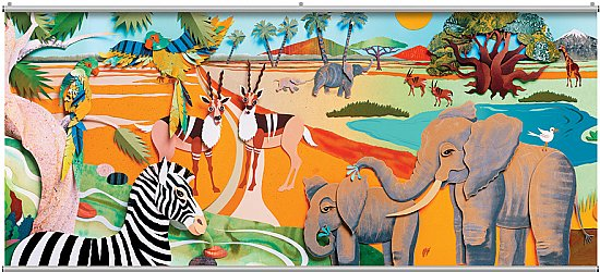 Colorful 3D Safari 2 Minute Mural 121708