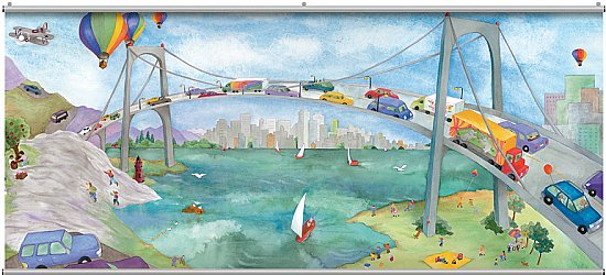 Watercolor Bridge Minute Mural 121709
