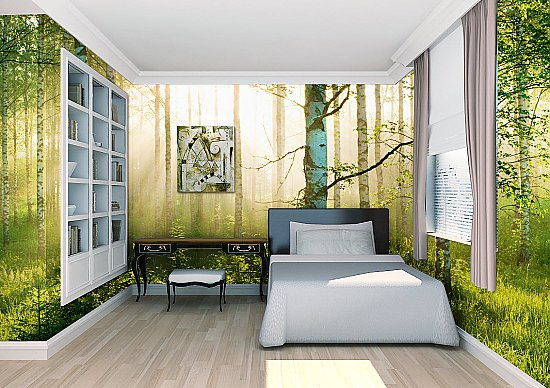 Sunlight Forest Mural 1855 Roomsetting