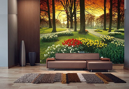 Floral Sunset Mural Roomsetting