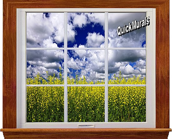 Country Fields Window 1-Piece Canvas Peel and Stick Canvas Wall Mural