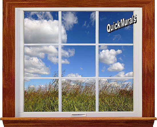 Meadow Window 1-Piece Canvas Peel and Stick Canvas Wall Mural