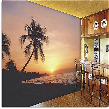 Key West Florida at Sunset Mural 8028 roomsetting