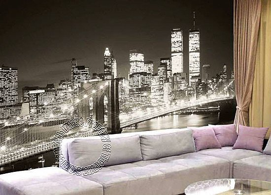 Brooklyn Bridge Black & White Mural 1872 8072 roomsetting