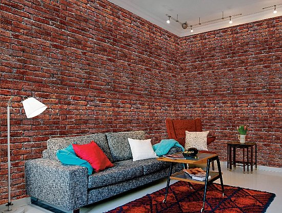 Red Brick Wall Wall Mural 8097 roomsetting