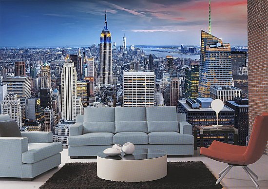 New York New York Wall Mural Roomsetting