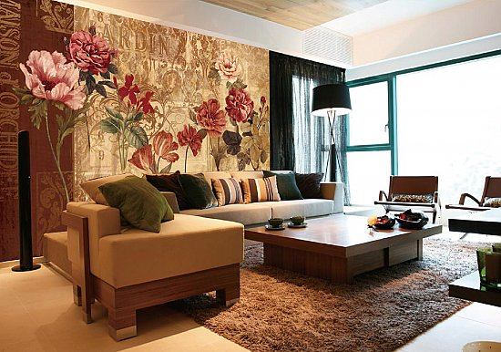 Retro Flowers Wall Mural 8106 roomsetting
