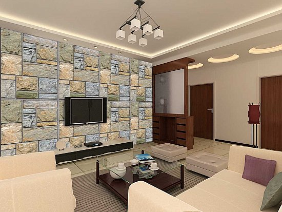 Colorful Mosaic Stone Wall Roomsetting