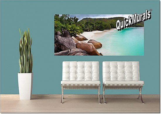 Barbados Island Beach One-piece Peel & Stick Canvas Wall Mural Roomsetting