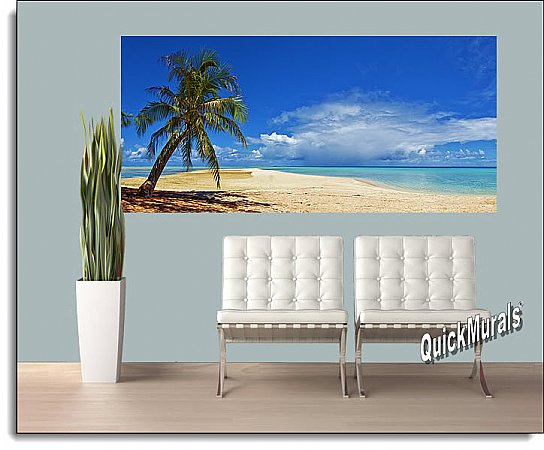 Basua Beach One-piece Peel & Stick Canvas Wall Mural Roomsetting