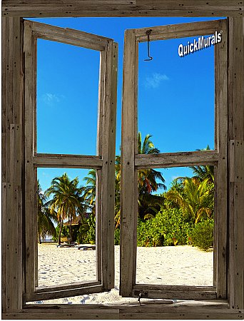 Beach Cabin Window Mural #13