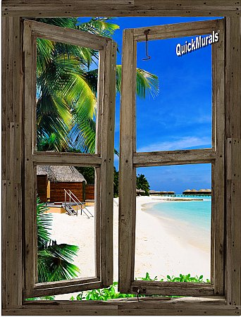 Beach Cabin Window Mural #9