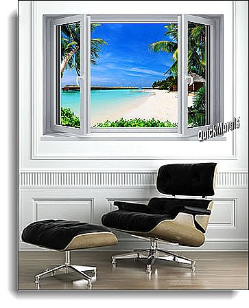 Beach Resort Window 1-Piece Canvas Peel and Stick Canvas Wall Mural