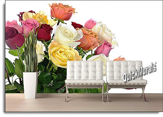 Bouquet Of Roses Peel and Stick Wall Mural roomsetting