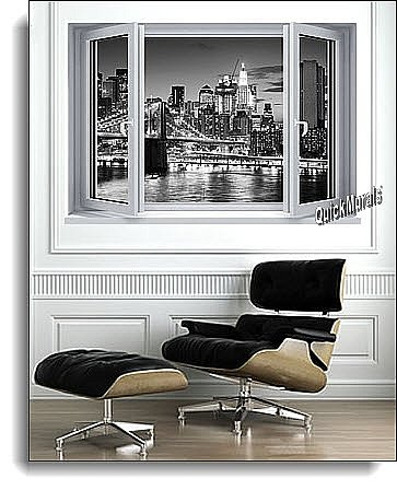 Brooklyn Bridge Window One-Piece Canvas Peel and Stick Wall Mural Roomsetting