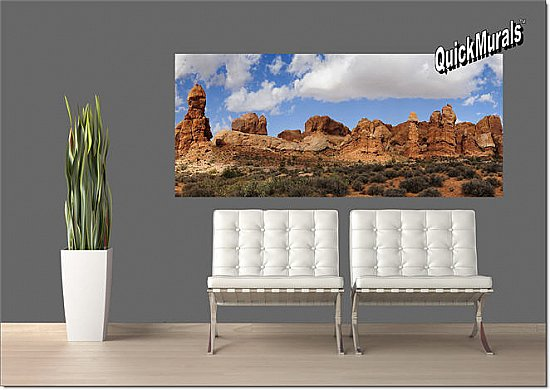 Canyonlands Park, Utah Panoramic One-piece Peel & Stick Canvas Wall Mural Roomsetting