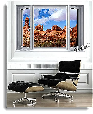 Desert Canyon Window 1-Piece Canvas Peel and Stick Wall Mural Roomsetting