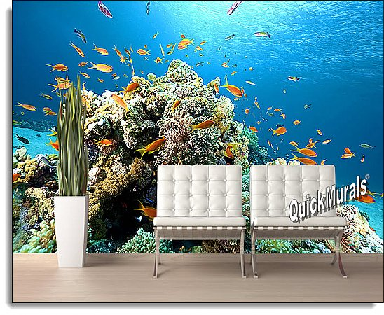 Coral Reef Peel and Stick Wall Mural roomsetting