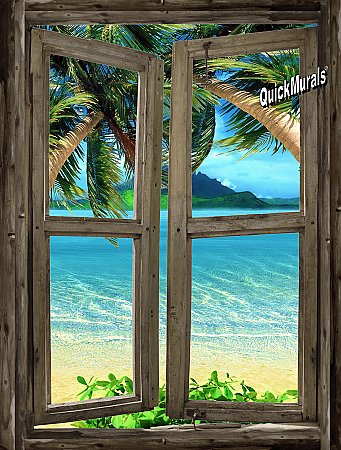Beach Cabin Window Mural #7 One-piece Peel and Stick Canvas Wall Mural