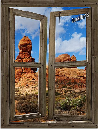 Desert Cabin Window Peel and Stick (1 piece) Canvas Wall Mural
