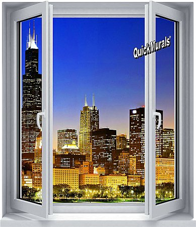 Skyline Window 1-Piece Peel and Stick Mural
