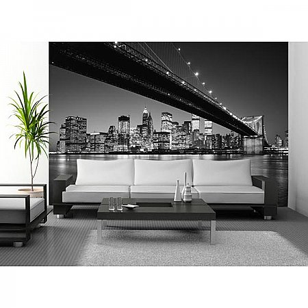 Manhattan Skyline Wall Mural DM119 Black and White roomsetting