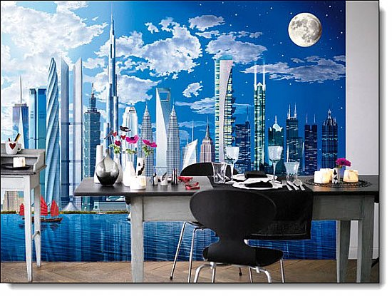 Worlds Tallest Buildings Mural roomsetting