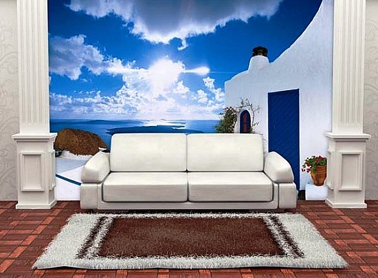 Santorini Sunset Mural 269 DM269 by Ideal Decor