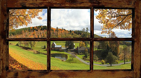 Farmhouse Window Peel and Stick Canvas Wall Mural