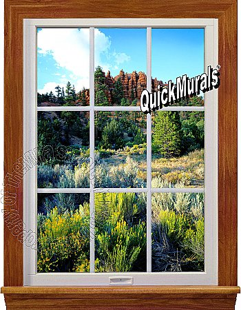 Floral Canyon Window 1-Piece Peel and Stick Canvas Wall Mural