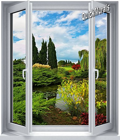 Garden Lake Window 1-Piece Peel and Stick Wall Mural