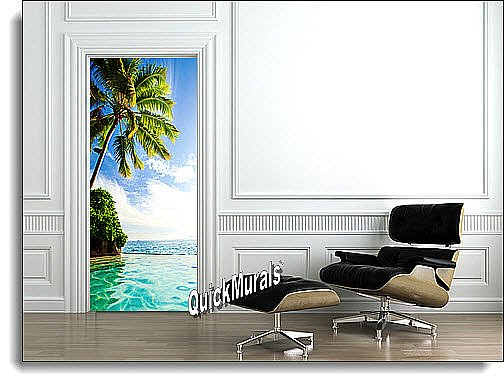 Island Paradise Door Mural Roomsetting
